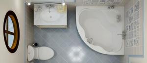 banheiro pequeno com banheira 1