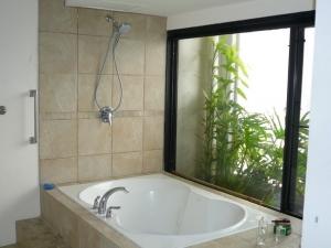 banheira e chuveiro no mesmo espaço