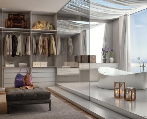 Suíte Master 16 – Luxo, requinte e sofisticação é a palavra de ordem nesta suíte. A banheira minimalista é separada do closet por um vidro.