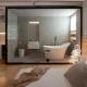 Banheiro integrado ao quarto com banheira minimalista moderna