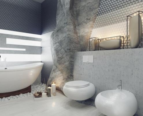 Banheiro moderno no estilo escandinavo,banheira de imersão minimalista e destaque para o sanitário e pia na mesma e com design arrojado. O piso laminado imitando madeira é um charme só e na área da banheira seixos branco para compor a decoração. Luxo em cada detalhe!