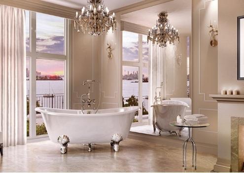 Nesta decoração clássica tudo faz com que o ponto focal do ambiente seja banheira Vitoriana. Os pés com garras em formato de concha são um charme a parte.
